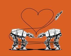 8 Pack of Stickers: AT-AT Love - Orange. $15.00, via Etsy.