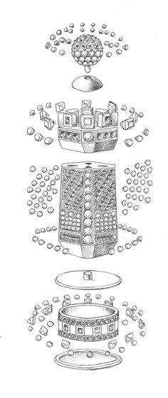 Вибух-схема шахової фігури з дорогоцінним камінням