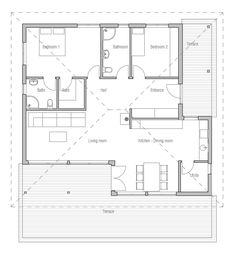 small house plan with two bedrooms and open planning small home design house plan - House Planning