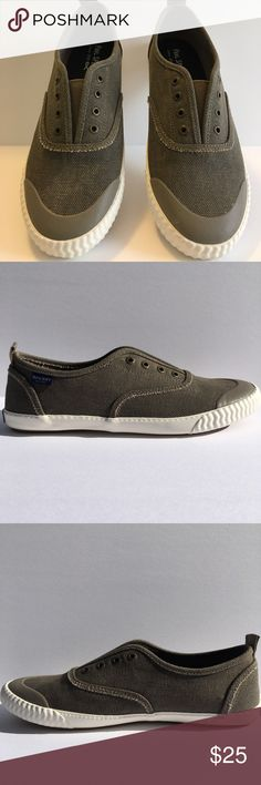 New Paul Sperry Taupe Canvas Sneakers Size 9 1/2 No Lace Slip Ons. Taupe. New in Box But Top of Box Ripped But Is Tapped. Paul Sperry Shoes Sneakers