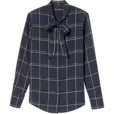 Dillon-Fit Plaid Tie-Neck Flannel Shirt ($78) ❤ liked on Polyvore featuring tops, tie neck top, shirt top, necktie shirt, plaid flannel shirt and tartan plaid flannel shirt
