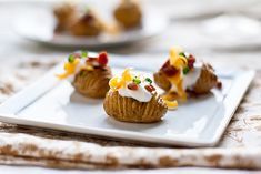 Loaded Hasselback Potato Bites by foodiebride, via Flickr. These look adorable, and you can make them as healthy, or not, as you like.