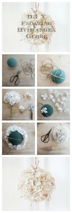 DIY Kissing Balls as seen on http://rusticweddingchic.com/diy-floating-blush-hydrangea-globe ~You can find all the supplies you need at Afloral.com or you can shop from our selection of already made kissing balls!
