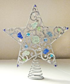 sea glass star tree topper in colors of the sea by lynne cormier vigue - Glass Christmas Tree Topper