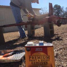 Applying paint stripper to running gear. Chicken Coop On Wheels, Chicken Coop Pallets, Portable Chicken Coop, Chicken Coops, Duck House Plans, Removing Paint, Paint Stripper, Running Gear, Farm Life
