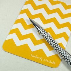 WANT (with my new last name)! ohhh love the gray!     personalized stationery set note cards chevron stripe by naomilynn, $13.00