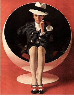 Geoffrey Beene ad, 1960s. With Arnio ball chair!. Love the chair and the somewhat tomboy look