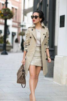 Shades Of Beige :: Honey Trench & Sequin Skirt