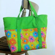 Medium Tote Bag Green Daisy Purse Floral Book by DirtRoadCrafter, $30.00