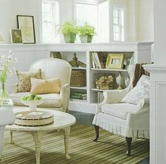 This room is so classic in white with the green rug. Provided by Deb Deaton by BHG via Donna.