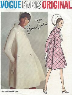 1960s Vintage VOGUE 1712 Sewing Pattern By Pierre Cardin;