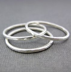 Fine Silver Stackable Ring  Hammered Shiny by jcjewelrydesign, $12.00