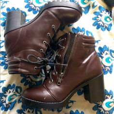 Platform boots Bought a few months ago, only worn once, 2 small scuff marks, nothing major. The name of the color is wine. Forever 21 Shoes Ankle Boots & Booties