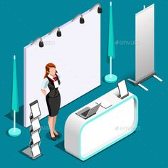 Exhibition 3D Booth Standing Person Isometric Vector Illustration