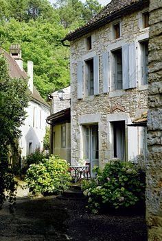 In the country French Country, French BLue shutters exterior stone color Rustic French Country, French Countryside, French Country House, French Farmhouse, French Country Decorating, Country Living, Country Patio, Country Charm, Country House Interior