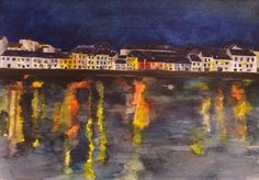'Night Reflections - The Long Walk, Galway' by Fiona Concannon on ArtClick. Long A, Reflection, Ireland, Walking, Night, Artist, Painting, Painting Art, Walks