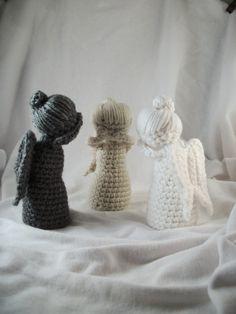 Set of 3 Crochet Angel Dolls by LaurelAndHoney on Etsy, $40.00