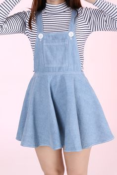 New in Light Denim Pinafore by GFD available in 4 sizes, available through pre ordering (out of stock) will take roughly weeks to arrive. Pastel Fashion, Kawaii Fashion, Cute Fashion, Pretty Outfits, Cool Outfits, Summer Outfits, Casual Outfits, Denim Pinafore, Teen Girl Fashion
