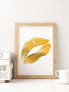 Gold Foil Lips  Faux Gold Foil Lip Print  Lips by BrilliantCritter