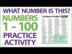 """A basic activity to practice the numbers from 1 to 100 in English. You will hear """"What number is this?"""" and a number will appear on the screen in digit form . Learn English Grammar, English Vocabulary Words, English Words, Numbers 1 100, What's The Number, 1 To 100, The 100, Woodward English, Ell Students"""