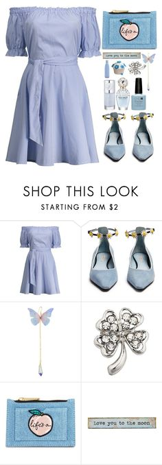 """""""Shadows of blue"""" by simona-altobelli ❤ liked on Polyvore featuring Fabrizio Viti, Skinnydip, Natural Life, monochrome, Blue, MyStyle and offshoulder"""