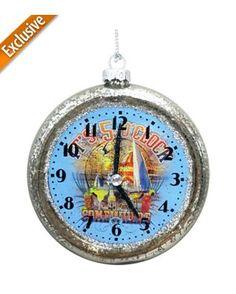 Margaritaville Glass Clock Ornament
