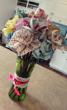fabric flowers...they're gorgeous! (DIY available via snowy bliss.blogspot.com)