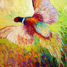 Flushed Pheasant - acrylic by ©Marion Rose (via FineArtAmerica)