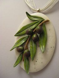 Olive branch pendant made from polymer clay