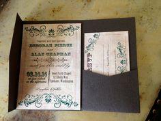 Woodgrain texture card stock pocketfold wedding by CupidDesigns, $370.00