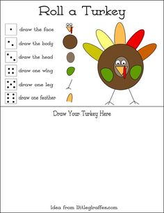 Roll-a-Turkey game - Re-pinned by #PediaStaff. Visit http://ht.ly/63sNt for all our pediatric therapy pins