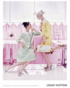 The Terrier and Lobster: Louis Vuitton Spring 2012 Soda Fountain Ad Campaign: Daria Strokous & Kati Nescher by Steven Meisel