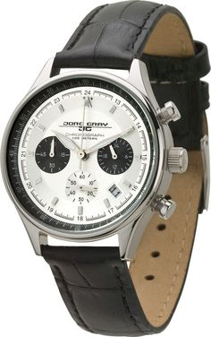 Jorg Gray Womens 6500 Series Chronograph Stainless Watch - Black Leather Strap - Silver Dial - JG6550L  http://www.originalwatchstore.com/brand/jorg-gray/
