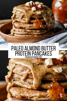 Grain-Free Almond Butter Protein Pancakes (Keto, Paleo) - low-carb, keto pancakes recipe made with almond flour - fluffy, moist, rich and delicious! #breakfast #keto #lowcarb #paleo #pancakes #grainfree #glutenfree #dairyfree