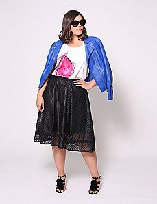 Perforated Circle Skirt by Christian Siriano