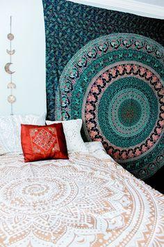 Blue Hippie Mandala Tapestry, Bohemian Tapestry, Bedroom summer ...