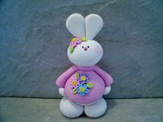 Bunny Figurine by countrycupboardclay on Etsy