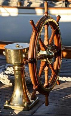 elements of boating style - brass, mahogany, weathered wood