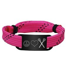 Lacrosse Shooting String Bracelet Peace Love Lacrosse Adjustable Shooter Bracelet - Pink