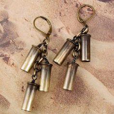 ANNIE OAKLEY - 22 Bullet Shell Cartridge Casings Cascade Earrings. 29.00, via Etsy.