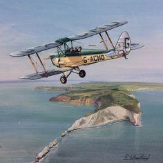 De Havilland Tiger Moth watercolour and gouache painting