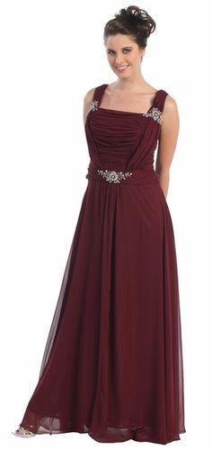 Cherlone Plus Size Satin Burgundy Long Ball Gown Wedding/Evening ...