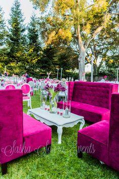 Hot pink & white baroque outdoor wedding. Gorgeous.