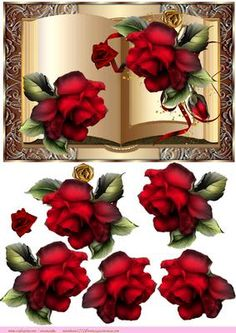Book Red Roses on Craftsuprint designed by Marijke Kok - beautiful book with red roses, for any occasion - Now available for download!