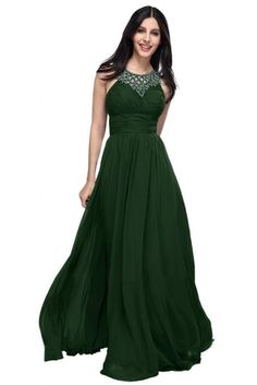 Amazon.com: Emma Y Halter Hollow Chiffon Evening Party Dresses Long Formal Gowns- US Size 14-Dark Green: Clothing