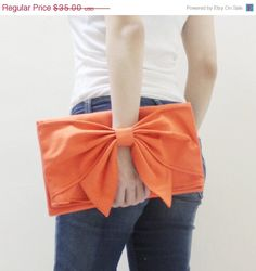 NEW YEAR SALE Bow in Orange - Clutch Bag / Wristlet / Mini iPad Sleeve / Mini iPad Case / Tablet Case / Handbag / Women / For Her