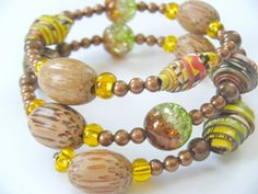Wood Recycled Paper Beads Memory Wire by HeidiKindFinds