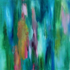 Original Contemporary Abstract Painting Emerald Green, Blue, PInk and Gold Leaf, The Bright Side, 18 x 18 via Etsy