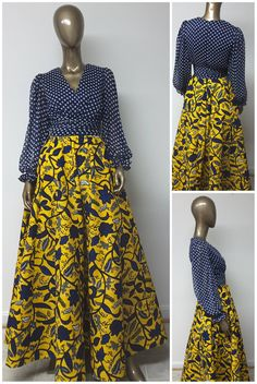 This is a beautiful African Print Chiffon bodice Maxi Dress with bishop Sleeves, and ruched waist. African Maxi Dresses, African Fashion Ankara, Latest African Fashion Dresses, African Dresses For Women, Ankara Dress, African Print Fashion, Africa Fashion, African Attire, African Wear