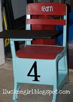 Old school desk redo Painted School Desks, Old School Desks, School Chairs, Old Desks, School Kids, School Desk Makeover, Metal Desk Makeover, Desk Redo, Hobby Desk